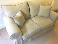 Sofa 2 seater GREY removable cover foot rest/pouf Collins/Hayes feather washable