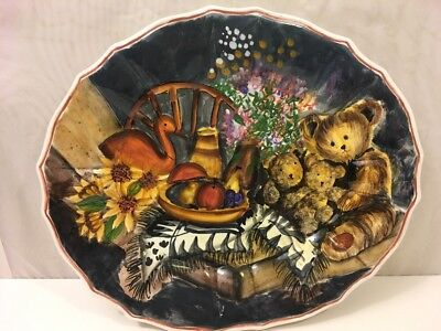 Ccbc Ceramic Oval Country Rustic Teddy Bear Platter Plate Dish 14  Hand Painted