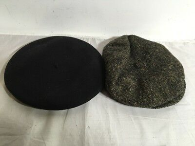 Lot Of 2 True Vtg  HOQUY French Beret De Luxe Pure Wool And Vtg Newsboy Wool Cap