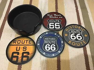 ROUTE 66 COASTERS GARAGE COFFEE BEER MUG BAR FORD CHEVY HIGHWAY
