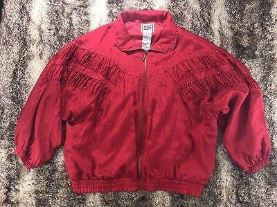 Vintage EVR 1980s Women's XL Red Silk w/Gold Sequins Windbreaker JACKET