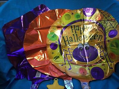 Set Of Three Mylar Halloween Balloons With Ribbon And Weight  Boo  Bouquet - Halloween Mylar Balloons
