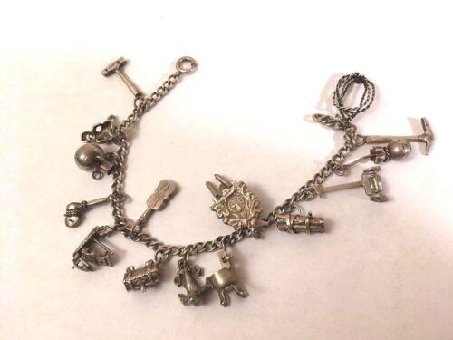 Vintage Sterling Silver Charm Chain Link Bracelet w/ 15 Unique Charms