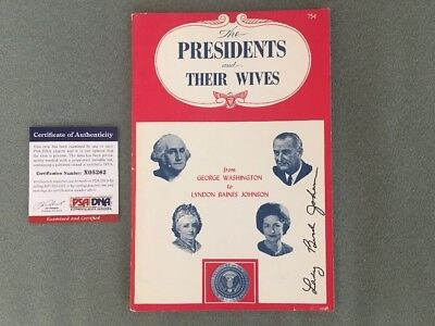 Lady Bird Johnson Signed 'The PRESIDENTS and THEIR WIVES' 1967 Booklet PSA COA