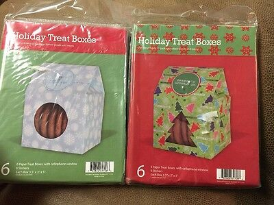 Window Treat Boxes (lot of 2 Holiday Treat Boxes with Cellophane Window with stickers 12 count)