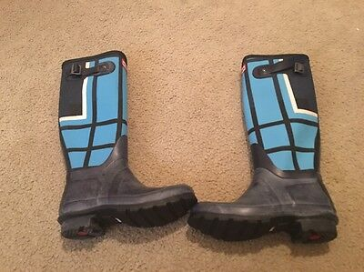 Long Navy Boots Hunter Women's Original Rainboots Shoes US 5 Plaid Blue - Plaid Hunter Boots