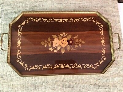 Italian Tray Inlaid Wood Floral Brass Handles Made In Italy 21