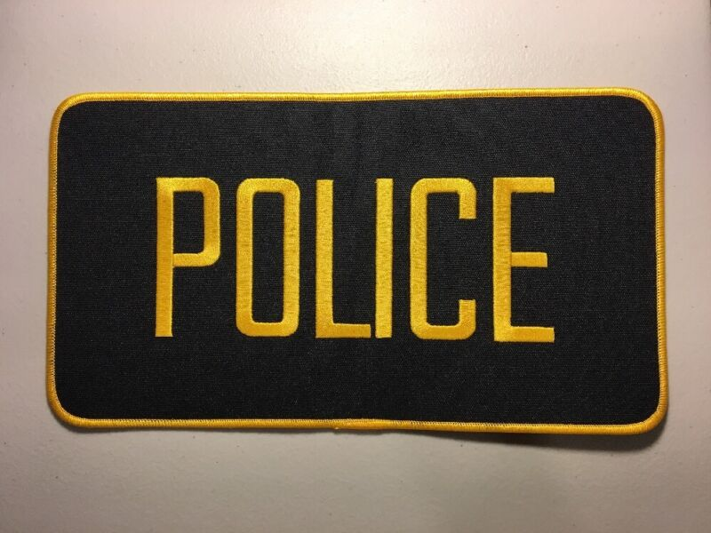 """Police Officer High Quality Embroidered Uniform Back Patch Black/Gold 12"""" X 6"""""""