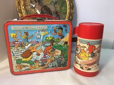 Vintage 1971 Flintstones Pebbles   Bamm Bamm Metal Lunch Box And Thermos