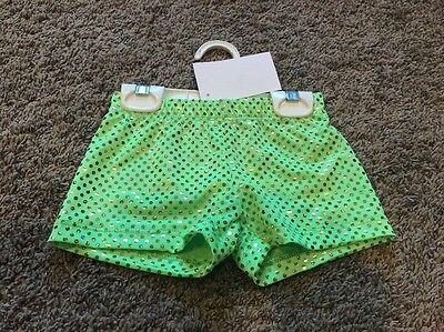 Girls 4 Green Sparkly Cheerleader Dance Gymnastics  Booty Bar Bike Shorts NWT! (Cheerleader Booty Shorts)