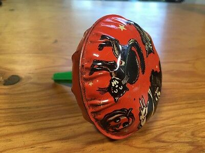 Vintage Halloween Tin US Metal Toy Co. Noisemaker USA Witch Cat Owl