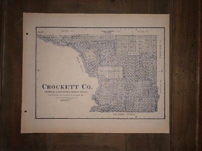 1901 CROCKETT COUNTY TEXAS MAP LAND OFFICE AUSTIN BLUE LINE ANTIQUE VINTAGE