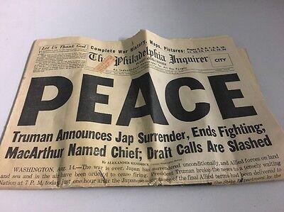 THE PHILADELPHIA INQUIRER - END WW2 - PEACE - AUGUST 15 1945 ORIGINAL NEWSPAPER
