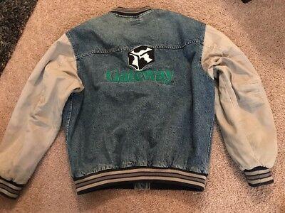 Vtg Gateway Computer Mens L Denim Jacket Large Spell Out & Logo On Back #A3 (Gateway-computer)