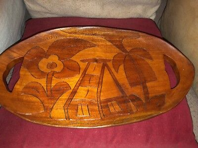 Superb West Indian Aruba Wooden Tray Highly Stylised Large Flowers & Beach Hut