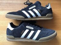 """ADIDAS MENS """"JEANS SUPER"""" BLACK TRAINERS UK SIZE 10, MINT WORN ONCE (COST £85)"""