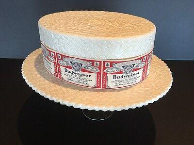 Budweiser Skimmer Hat Vintage Styrofoam white  ()