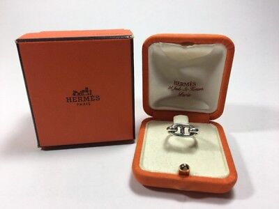 AUTHENTIC HERMES Sterling Silver H Charm Farandole Chaine d'Anecre Ring Size 4