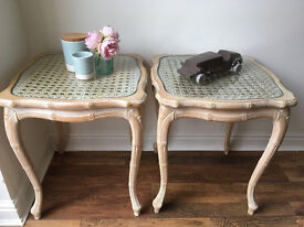 Pair of French Bamboo Style & Cane Glass Topped Shabby Chic Side / End Table