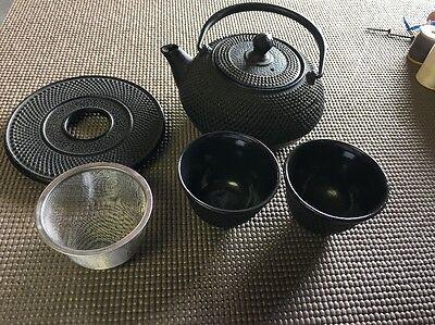 - Japanese Tea Set Cast Iron Pot Tetsubin Kettle Trivet Teapot Cups Infuser Black