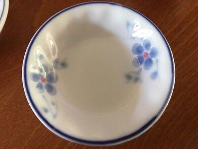 """Vtg 3"""" Pair of Japanese Small Soy Sauce Bowl Flower Blue / white Sushi"""
