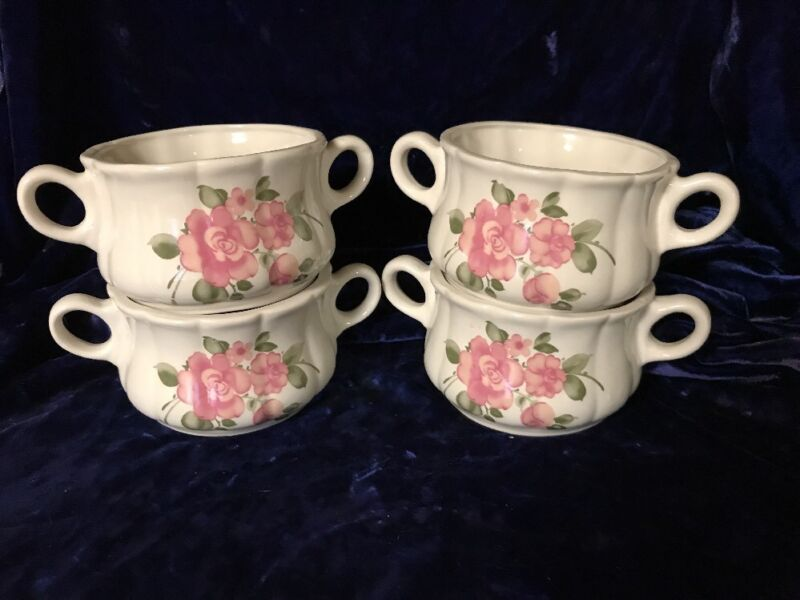 4 Gibson 16oz 2 Handle Soup Bowls Pink Cabbage Rose Design