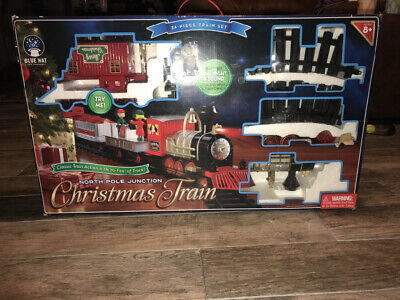 35 Pc Train Set North Pole Junction Christmas Blue Hat Toy Track Lights Sounds