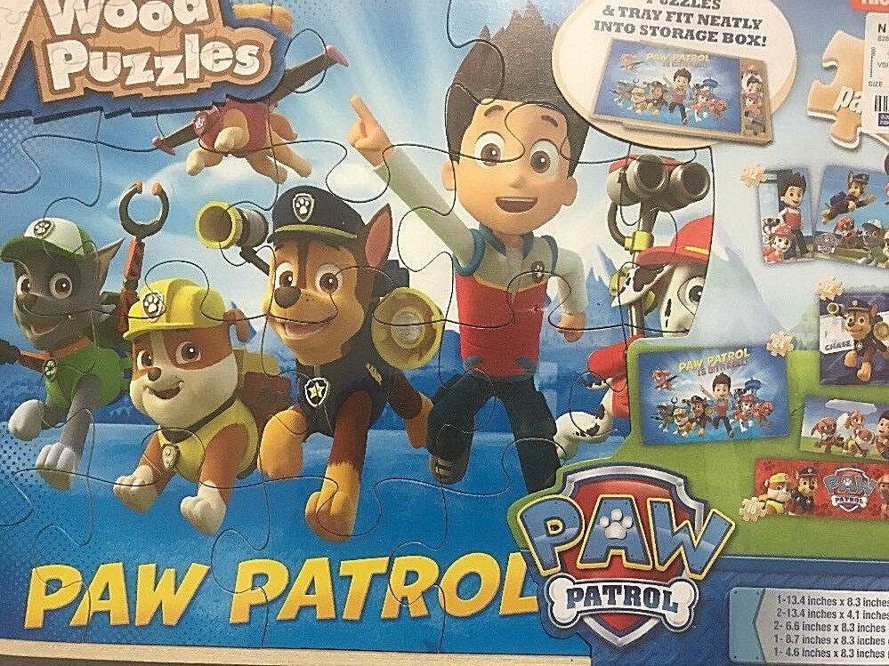 Paw Patrol Wood Puzzle 7 Pack with Wood Storage Box Nickelod