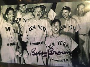 Bobby-Brown-Signed-4x6-Photo-W-Joe-DiMaggio-Ny-Yankees-Auto-IP