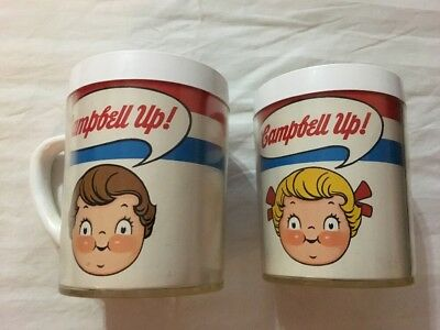 2 Campbell's Soup Vintage Campbell Up Plastic Cups Mugs by West Bend Thermo-Serv