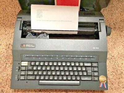 Typewriter Smith Corona Se100 Electric Original Cover Manual Word Eraser Works