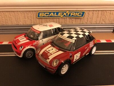 Scalextric Mini Cooper Twin Pack No1 & No2 Fully Serviced & New Braids Fitted