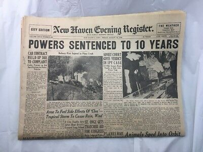 New Haven Evening Register Newspaper Connecticut Old Vintage August 19 1960