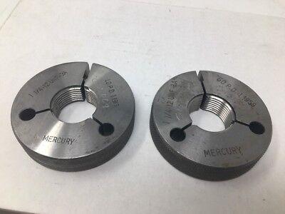 1 14 - 12 Unf-3a Thread Ring Gages Go No Go P.d.s Mercury 1.1913 1.1959