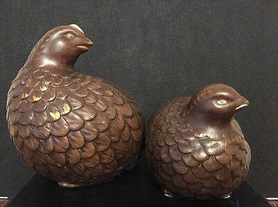 2 Vintage Ceramic Quail / Partridge / Bird Figurines  Dark Brown Brushed Gold