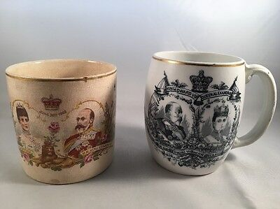 Two Antique Pottery Cups 1902 Coronation King Edward VII & Queen Alexandra