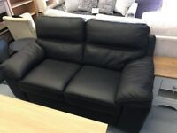 Brand New Perfect Black Real Leather 2 Seater Sofa RRP £995