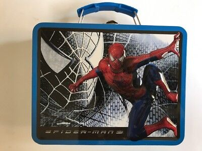 Tin Metal Lunch Snack Toy Box Embossed Marvel Hero Spider-Man VS Evil Blue NEW