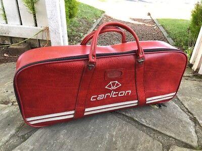 Stylish Red Vintage 1970s CARLTON Badminton Racquet Racket Bag Holdall