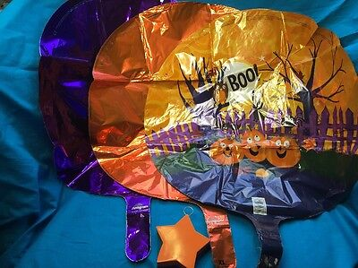 New Set Of Three Mylar Halloween Themed Balloons With Ribbon And Weight - Halloween Mylar Balloons
