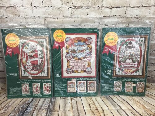Lot Of 3 BUCILLA Stitchery Pictures Christmas New Old Stock