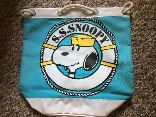"""S.S. Snoopy Vintage 1958 Vinyl Rayon Sailor Bag Nautical Japan 12"""" L 12"""" D 6"""" W"""