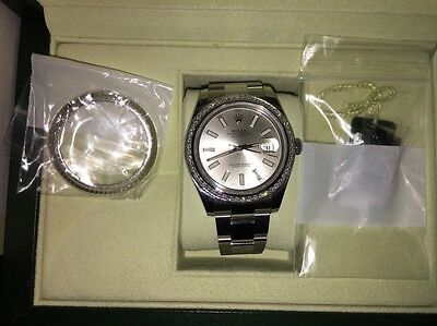 Mens Rolex date-just 41mm Stainless Steel W/ Custom Diamond Bezel And More!!