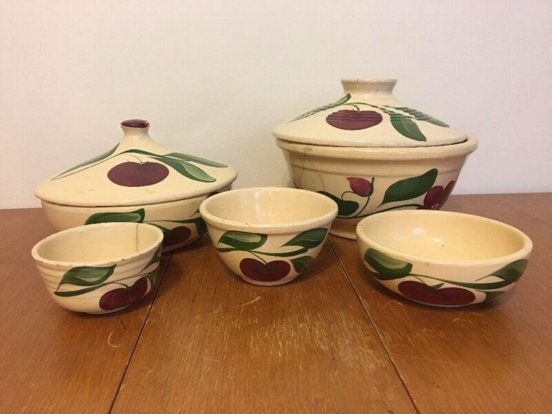 Lot 7 Vintage Watt Pottery Apple Ovenware Bowls Lids 4, 5, 74, 96