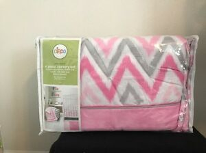 new circo pink zzzzu0027s 4 piece crib bedding set nursery chevron gray white pink