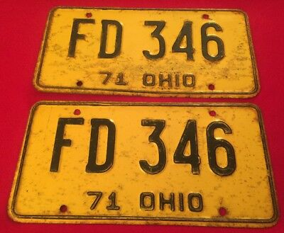 Vintage OHIO 1971 AUTO CAR AUTO LICENSE PLATE SET PAIR  2 Plates # FD 346