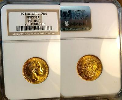 Prussia Gold 20 Marks 1911-A Wilhelm II, Choice Brilliant Uncirculated NGC MS 64
