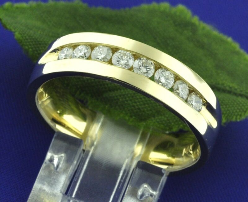 Classic 0.65 Ct 14k Solid Yellow Gold Mens Diamond Ring Channel Set Made In Usa
