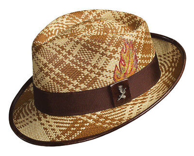 125ee200 Used, CARLOS SANTANA * MENS PANAMA FEDORA HAT XL * NEW STRAW SUN SHADY DRESS