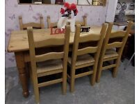 Reclaimed 6' Rustic Pine Dining Table with 6 Ladder Back Chairs - UK Delivery